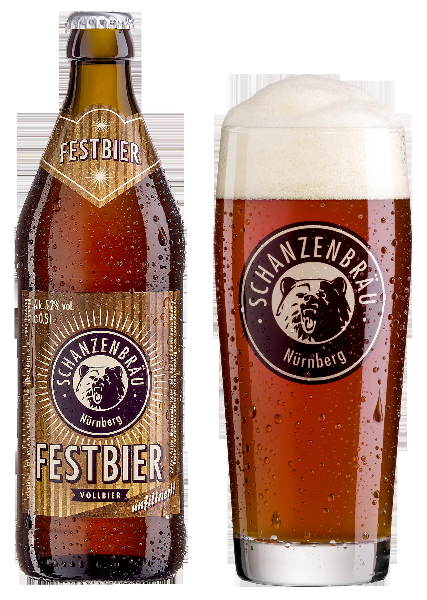 Festbier Brauerei Schanzenbräu Glas und Flasche